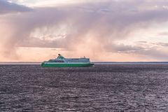 Car ferry on its way from Tallinn to Helsinki on an evening with sunset and clouds. Helsinki Finland stock photos