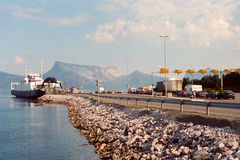 Car Ferry Line, Norway. A row of cars in line for a ferry in Norway royalty free stock photos