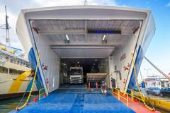 Car-ferry Load In Seaport, Piraeus, Greece Stock Images