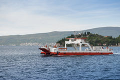 Car ferry in a picturesque bay. Royalty Free Stock Images