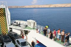On the car ferry between Stinica and Misnjak. Island Rab, Croatia. stock image