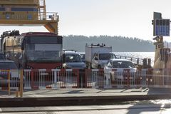Car Ferryin Winter time royalty free stock photography