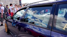 Car Festival in the city of Tula. Russian Federation. Summer 2015. stock footage