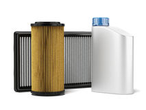 Car filters and motor oil Royalty Free Stock Photo
