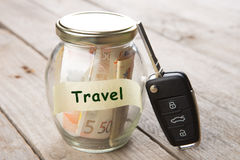 Car finance concept - money glass with word Travel, car key and roadmap Stock Images