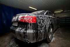 Car in fine on car-wash Royalty Free Stock Photography