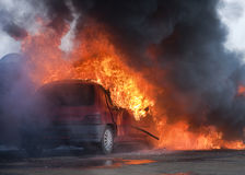 Car on fire royalty free stock images