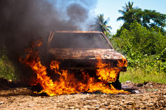 Car on Fire Stock Images