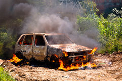 Car on Fire Royalty Free Stock Photo