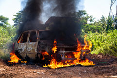 Car on Fire Stock Photography