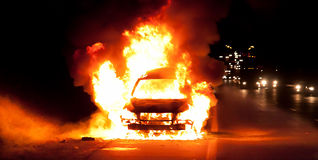 Car on fire. Close up at night Stock Photography
