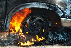 Car fire detail Royalty Free Stock Photography