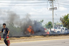 The car fire due to gas explosion. Stock Photos