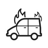 Car on Fire. Car, fire, extinguisher icon vector image. Can also be used for firefighting. Suitable for use on web apps, mobile apps and print media Royalty Free Stock Images