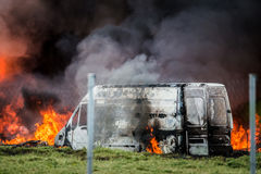 Car in fire Stock Image