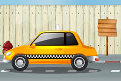 A car, a fire hydrant and a notice board. Illustration of a car, a fire hydrant and a notice board on a roadside Royalty Free Stock Images