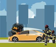 Car fire Icon with fireman. Vector illustration Stock Photo