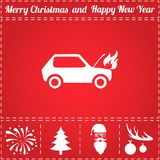 Car fire Icon Vector. And bonus symbol for New Year - Santa Claus, Christmas Tree, Firework, Balls on deer antlers Royalty Free Stock Image