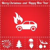 Car fire Icon Vector. And bonus symbol for New Year - Santa Claus, Christmas Tree, Firework, Balls on deer antlers Stock Images