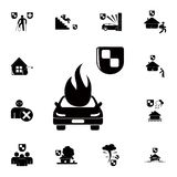 Car fire and safety shield icon. Detailed set of insurance icons. Premium quality graphic design sign. One of the collection icons. For websites, web design Royalty Free Stock Photos