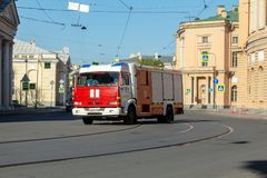 Car fire service rides on fire. Russia. St. Petersburg, Russia - May 01, 2019: car fire service leaves the call. Inzhenernaya Street, St. Petersburg royalty free stock photography