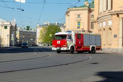Car fire service rides on fire. St. Petersburg, Russia - May 01, 2019: car fire service leaves the call. Inzhenernaya Street, St. Petersburg royalty free stock photo