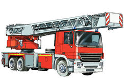 Car fire. Truck powerful automatic stairs fire water Stock Photos