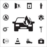 Car fired icon. Detailed set of fire guard icons. Premium quality graphic design sign. One of the collection icons for websites, w. Eb design, mobile app on Royalty Free Stock Photo