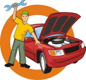 Car fix. Car master with wrench fixed a car Stock Photo