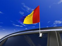 Car flag. Romania car flag - Europe cup 2008 Stock Photography