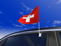 Car flag. Switzerland car flag - Europe cup 2008 Royalty Free Stock Image