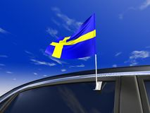 Car flag. Sweden car flag - Europe cup 2008 Royalty Free Stock Photos