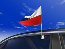 Car flag. Czechs car flag - Europe cup 2008 Stock Image