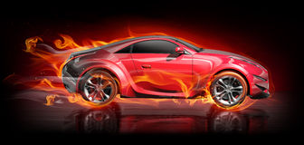 Car with flames Stock Photo