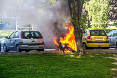 Car in flames Stock Photography