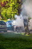 Car in flames Royalty Free Stock Photos