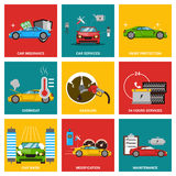 Car flat design icon set Stock Photography