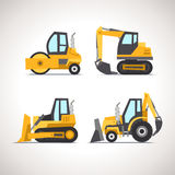 Car Flat Icon Set with Construction Equipment Set 3 Stock Photography