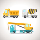 Car Flat Icon Set with Construction Equipment Set 1 Royalty Free Stock Image