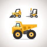Car Flat Icon Set with Construction Equipment Set 2 Stock Photos