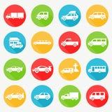 Car flat icon set. Car round design over white background vector illustration royalty free illustration