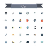 Car Flat Icons. Set. Vector illustration Stock Photo