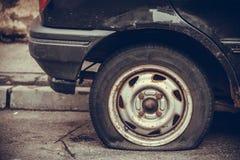 Car flat tire Royalty Free Stock Photos