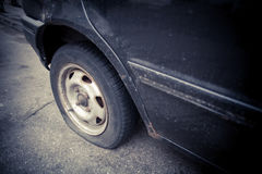 Car flat tire Royalty Free Stock Images