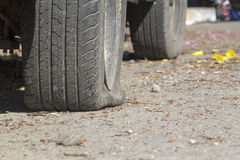 Car flat tire Royalty Free Stock Photo