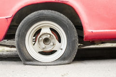Car flat tire waiting help. Stock Image