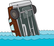 Car Floating in Water. Cartoon of single car stuck on  background Royalty Free Stock Photography