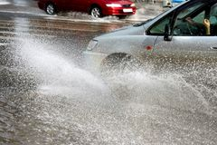 Car in floods Stock Photo