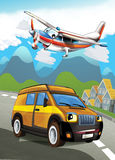 The car and the flying machine Stock Photography