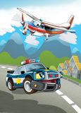 The car and the flying machine - illustration for the children Royalty Free Stock Photography